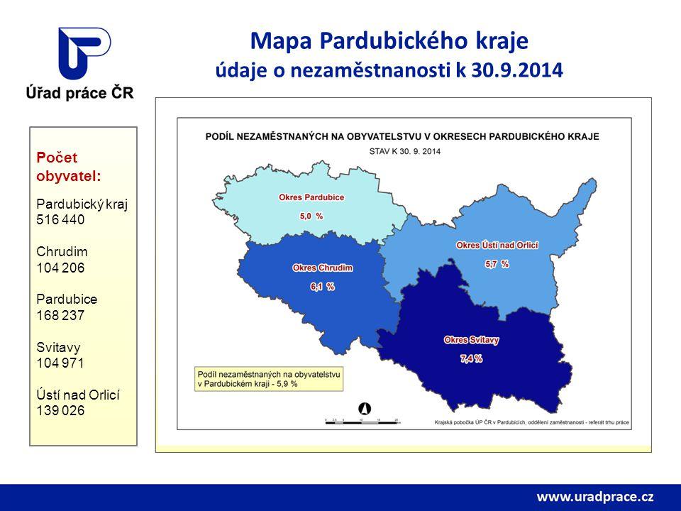 Mapa Pardubického kraje údaje o nezaměstnanosti k 30.9.2014