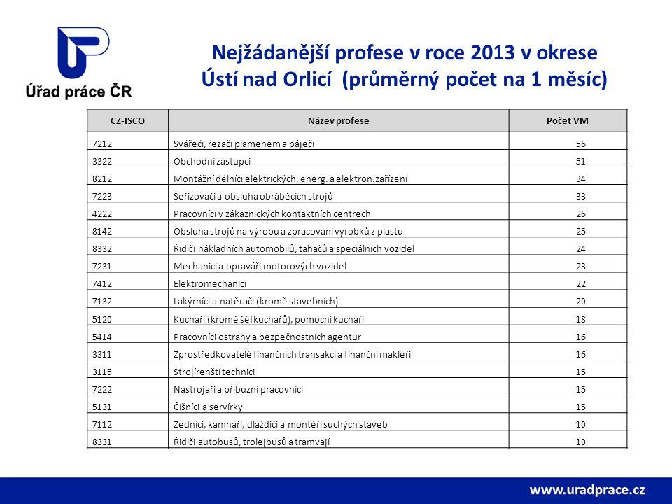 Nejžádanější profese v roce 2013 v okrese Ústí nad Orlicí (průměrný počet na 1 měsíc)