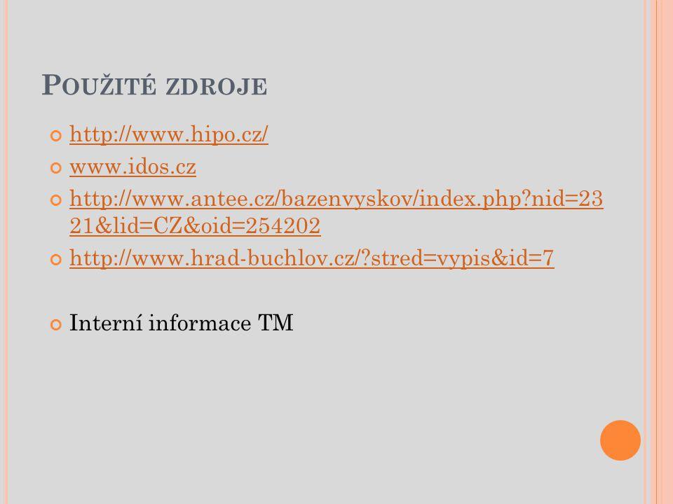 Použité zdroje http://www.hipo.cz/ www.idos.cz