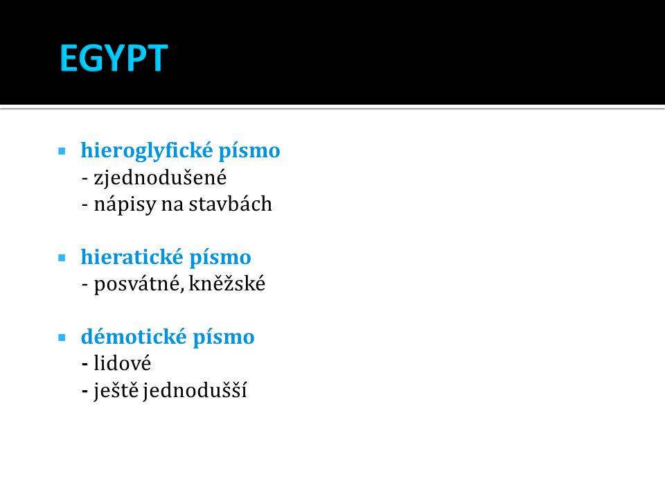 EGYPT hieroglyfické písmo - zjednodušené - nápisy na stavbách