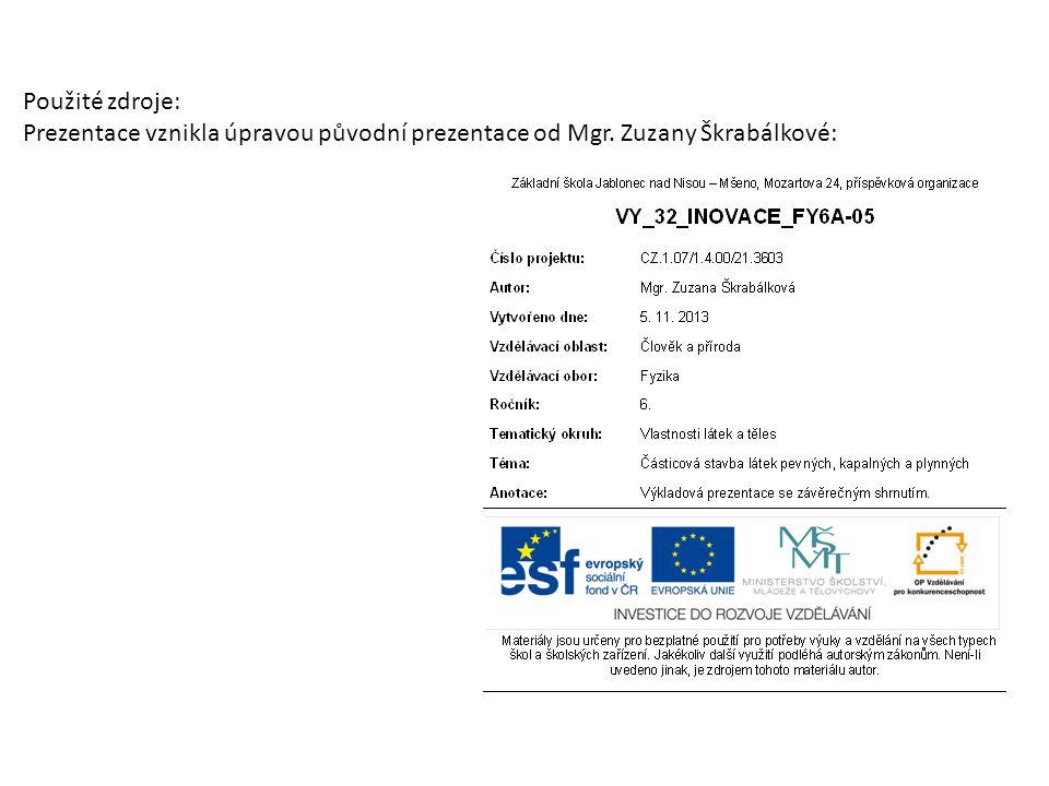 Použité zdroje: Prezentace vznikla úpravou původní prezentace od Mgr. Zuzany Škrabálkové: