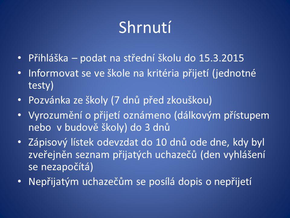 Shrnutí Přihláška – podat na střední školu do 15.3.2015
