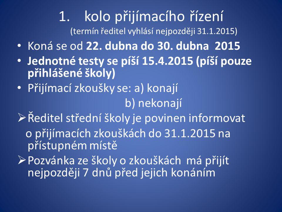 kolo přijímacího řízení (termín ředitel vyhlásí nejpozději 31.1.2015)