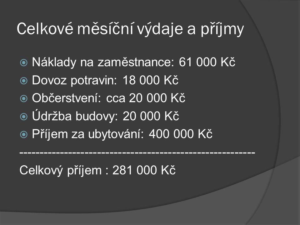 Celkové měsíční výdaje a příjmy