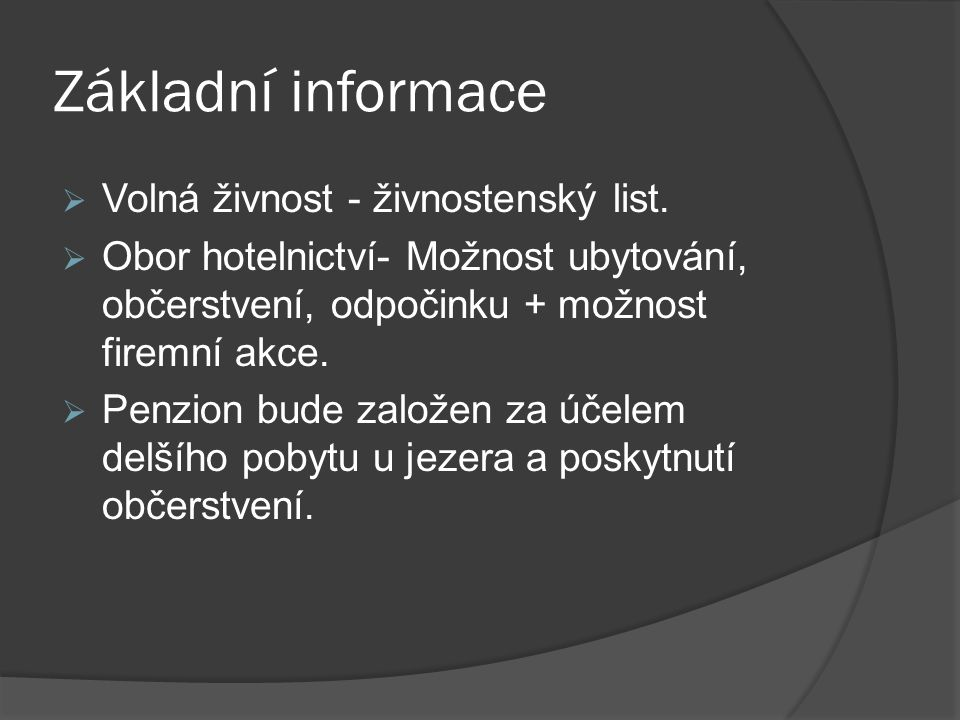 Základní informace Volná živnost - živnostenský list.