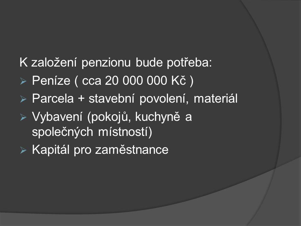 K založení penzionu bude potřeba: Peníze ( cca 20 000 000 Kč )