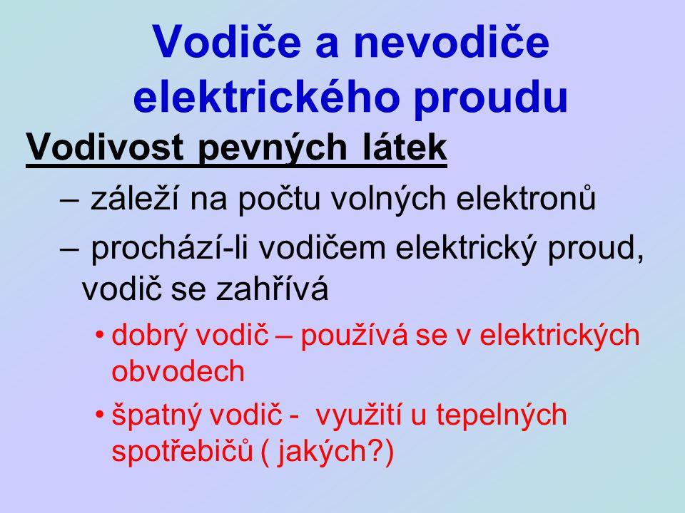 Vodiče a nevodiče elektrického proudu