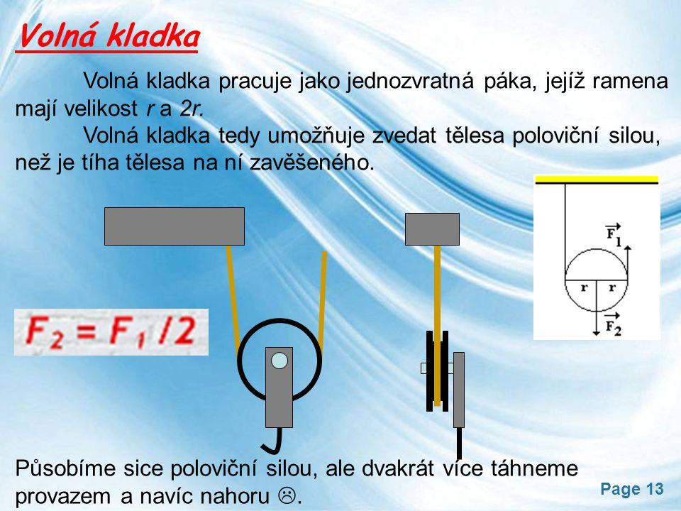 Volná kladka Volná kladka pracuje jako jednozvratná páka, jejíž ramena mají velikost r a 2r.