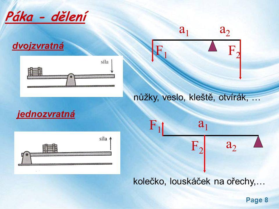 a1 a2 F1 F2 a1 a2 F1 F2 dvojzvratná Páka - dělení