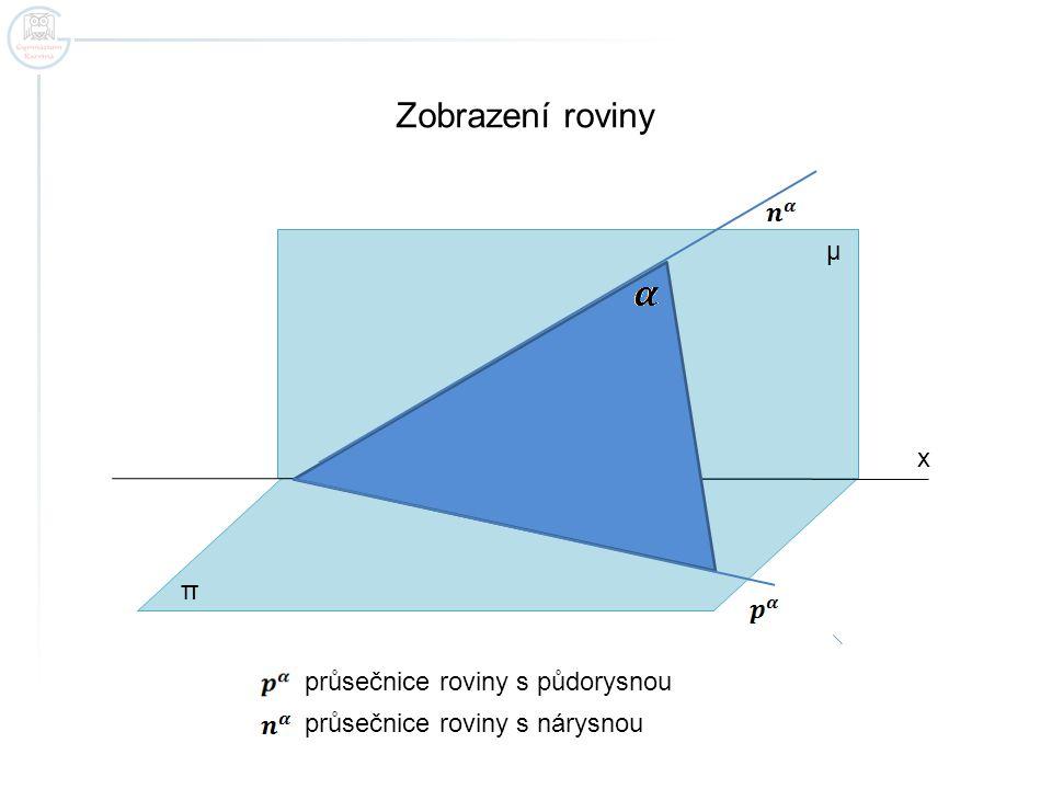 Zobrazení roviny μ x π průsečnice roviny s půdorysnou