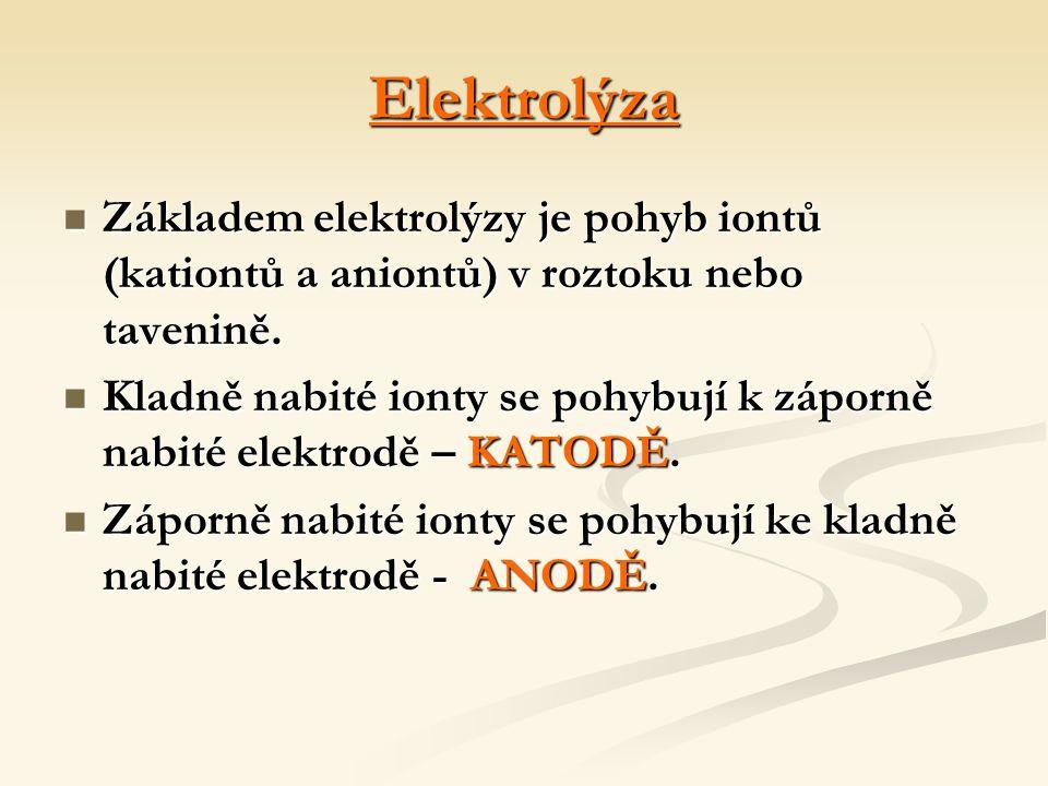 Elektrolýza Základem elektrolýzy je pohyb iontů (kationtů a aniontů) v roztoku nebo tavenině.