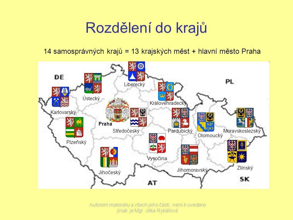 Rozdělení do krajů 14 samosprávných krajů = 13 krajských měst + hlavní město Praha. Liberecký. Ústecký.