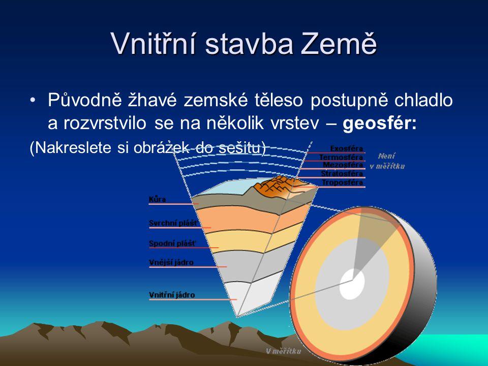 Vnitřní stavba Země Původně žhavé zemské těleso postupně chladlo a rozvrstvilo se na několik vrstev – geosfér: