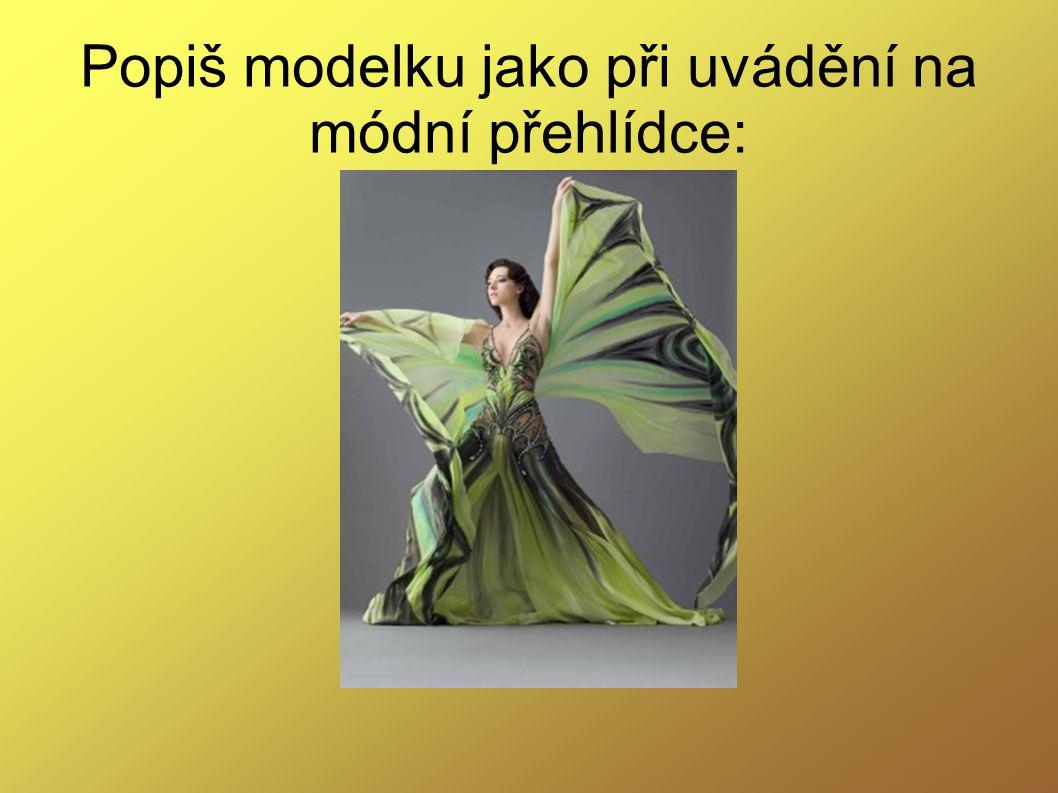 Popiš modelku jako při uvádění na módní přehlídce: