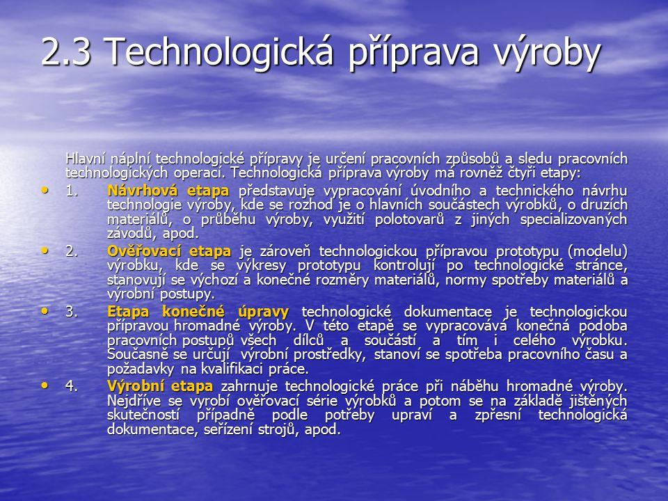 2.3 Technologická příprava výroby