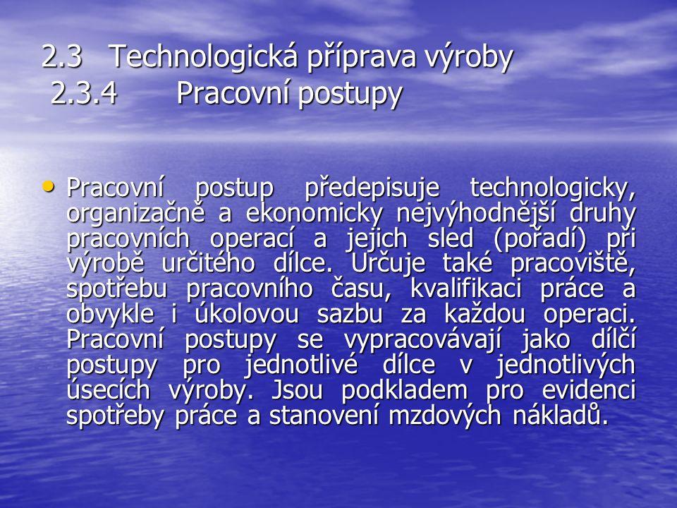 2.3 Technologická příprava výroby 2.3.4 Pracovní postupy