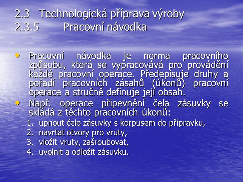 2.3 Technologická příprava výroby 2.3.5 Pracovní návodka