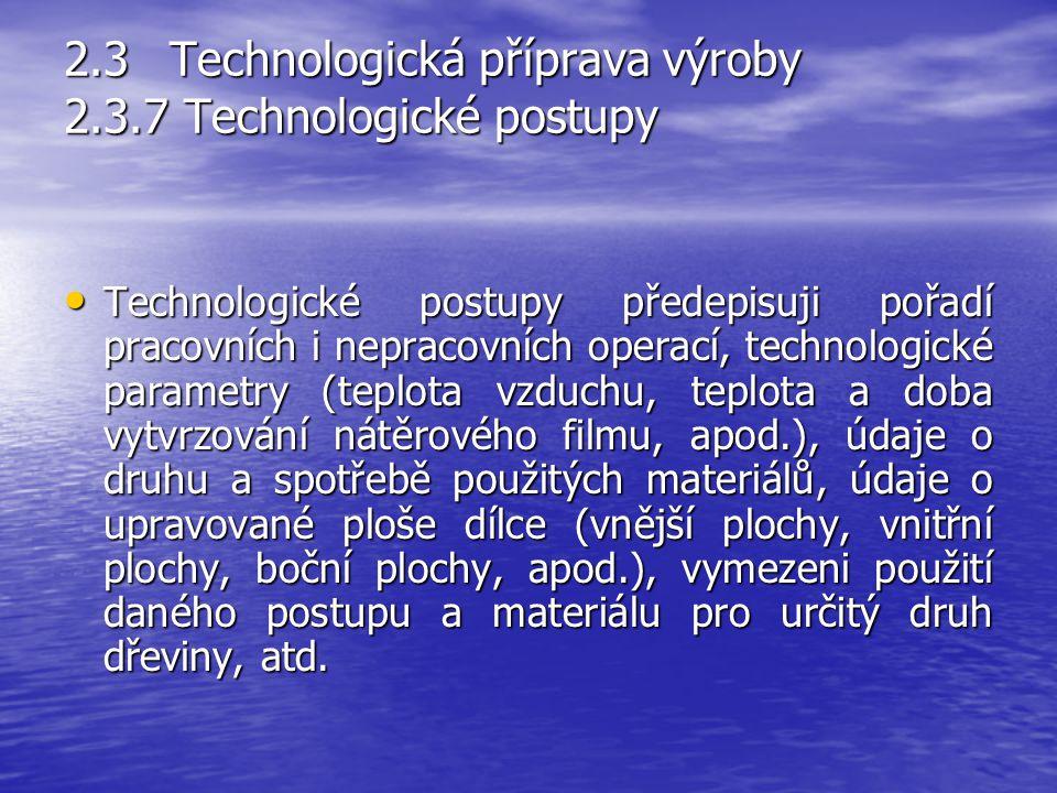 2.3 Technologická příprava výroby 2.3.7 Technologické postupy