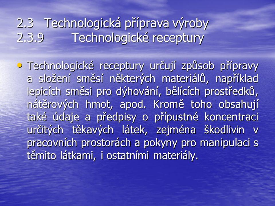 2.3 Technologická příprava výroby 2.3.9 Technologické receptury