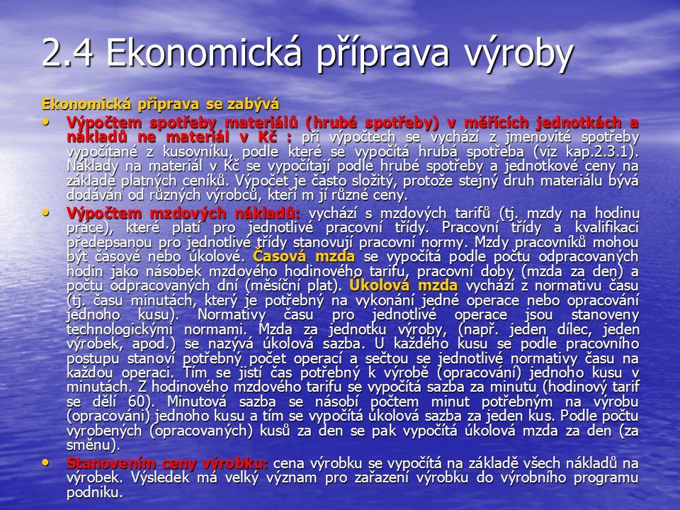 2.4 Ekonomická příprava výroby