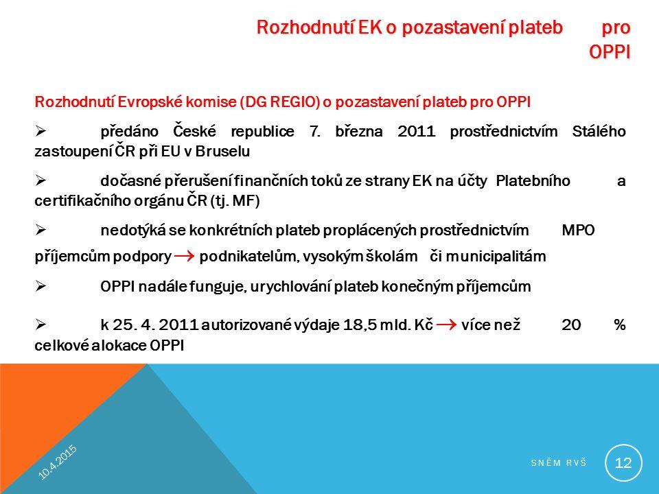 Rozhodnutí EK o pozastavení plateb pro OPPI