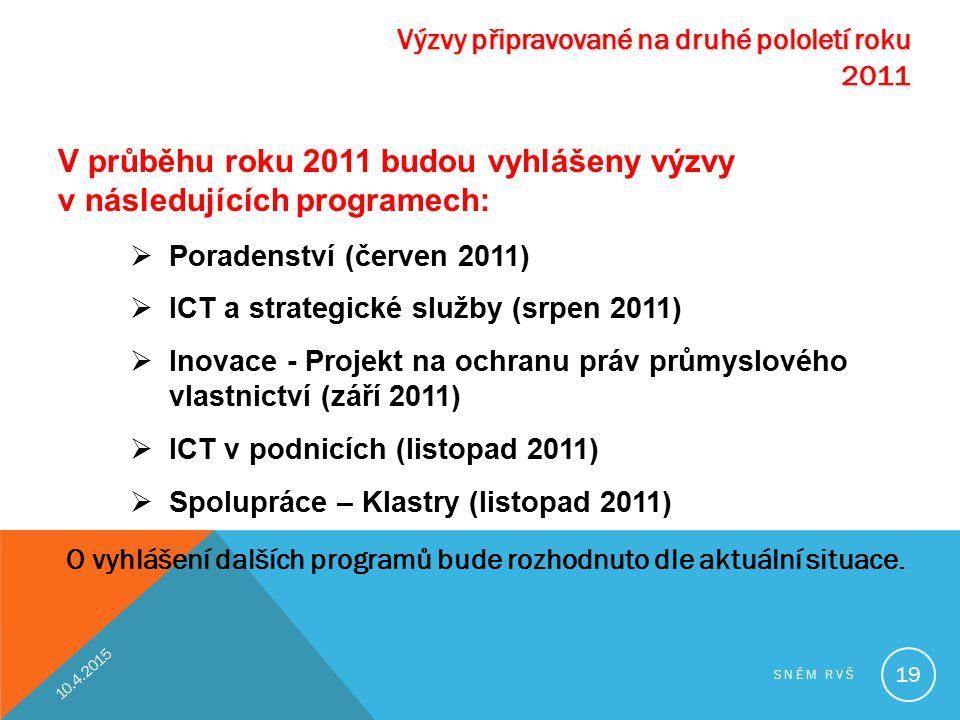 V průběhu roku 2011 budou vyhlášeny výzvy v následujících programech: