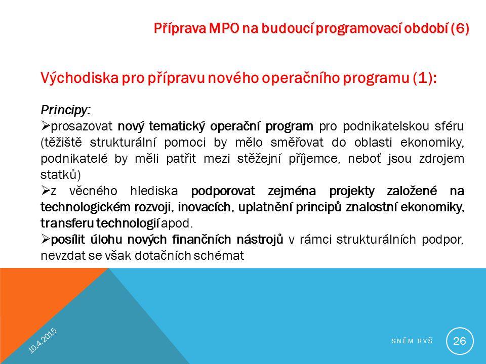 Východiska pro přípravu nového operačního programu (1):