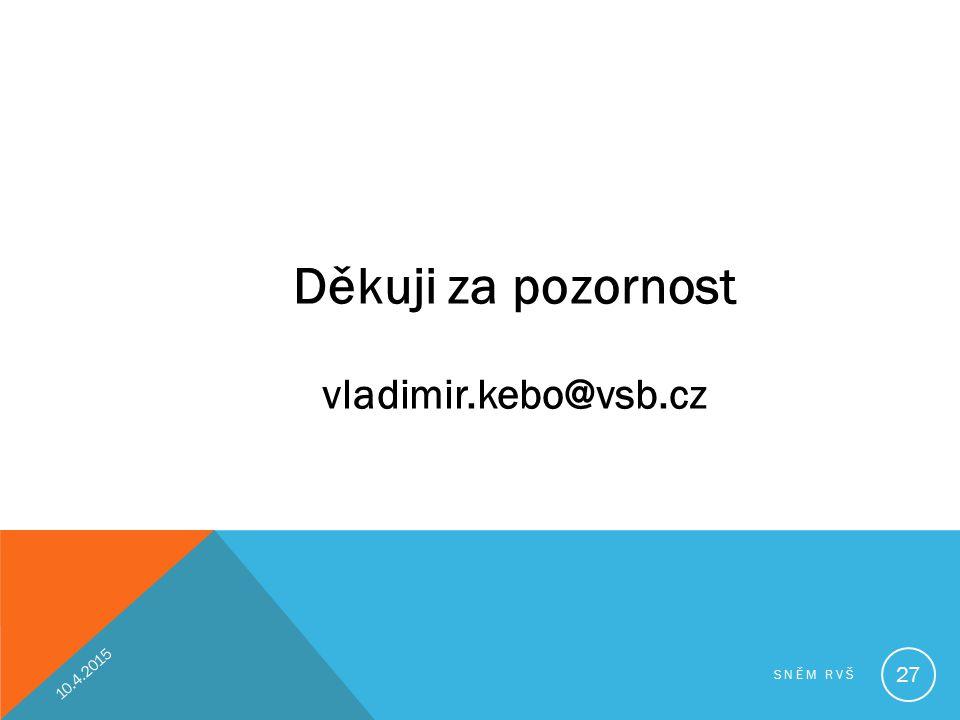Děkuji za pozornost vladimir.kebo@vsb.cz 10.4.2017 Sněm RVŠ