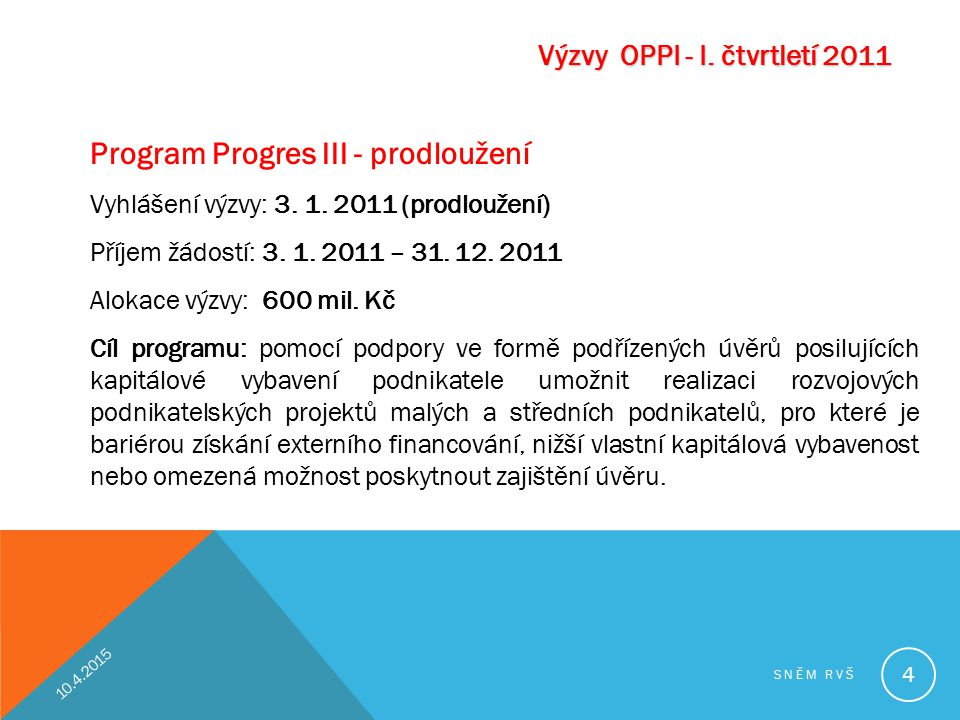 Program Progres III - prodloužení