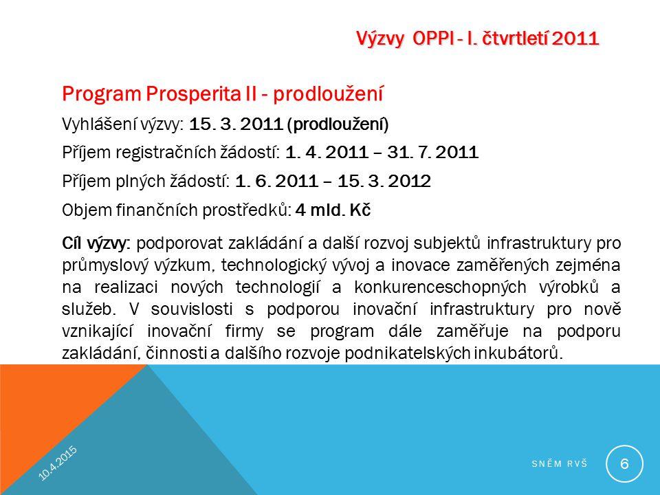 Program Prosperita II - prodloužení