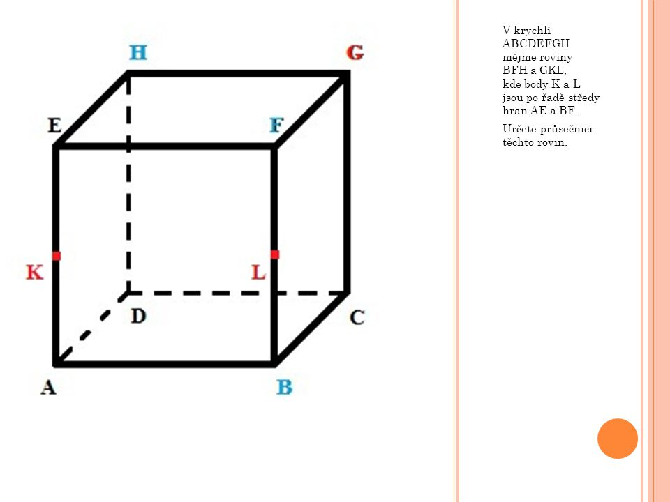 V krychli ABCDEFGH mějme roviny BFH a GKL, kde body K a L jsou po řadě středy hran AE a BF.