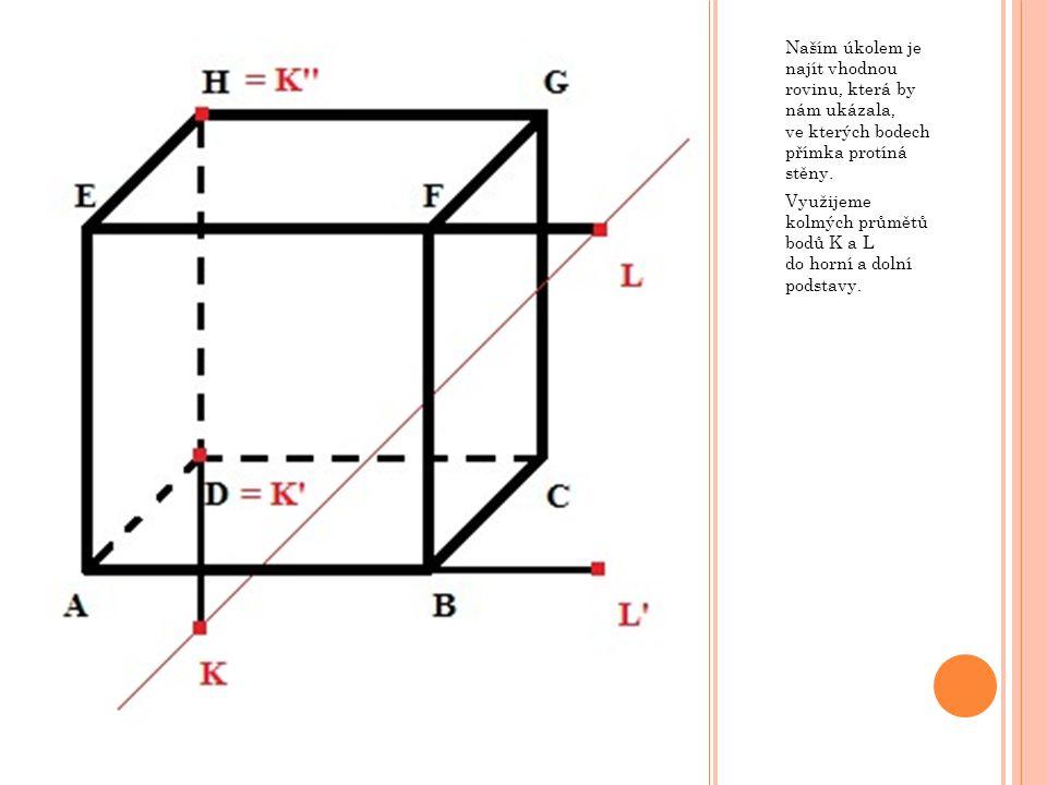 Naším úkolem je najít vhodnou rovinu, která by nám ukázala, ve kterých bodech přímka protíná stěny.