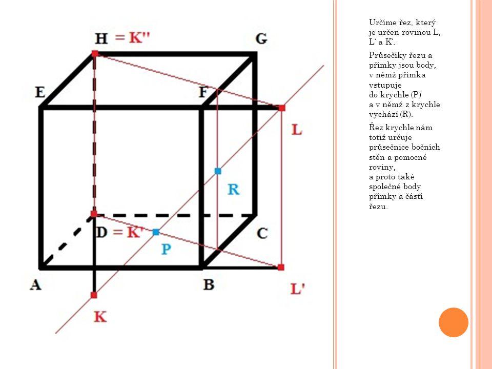 Určíme řez, který je určen rovinou L, L' a K'.