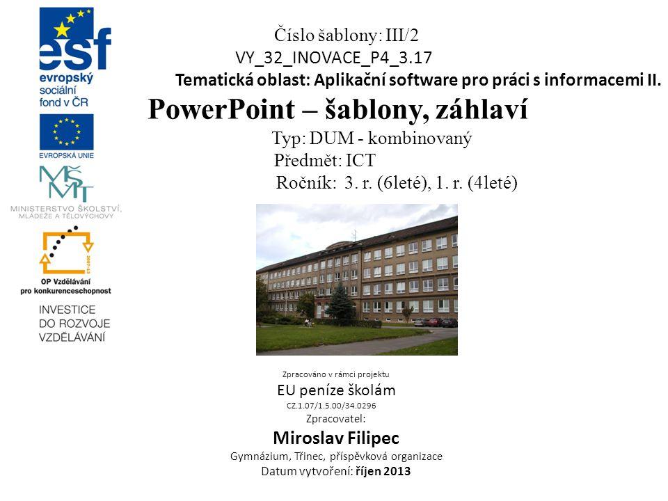 PowerPoint – šablony, záhlaví