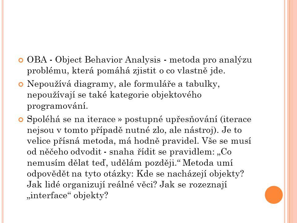 OBA - Object Behavior Analysis - metoda pro analýzu problému, která pomáhá zjistit o co vlastně jde.