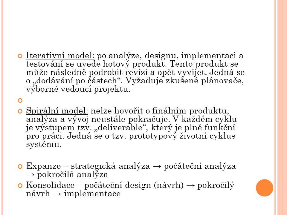 """Iterativní model: po analýze, designu, implementaci a testování se uvede hotový produkt. Tento produkt se může následně podrobit revizi a opět vyvíjet. Jedná se o """"dodávání po částech . Vyžaduje zkušené plánovače, výborné vedoucí projektu."""