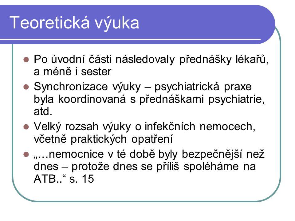 Teoretická výuka Po úvodní části následovaly přednášky lékařů, a méně i sester.