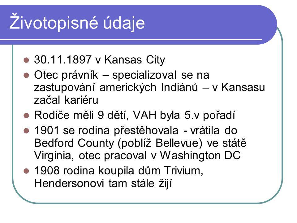 Životopisné údaje 30.11.1897 v Kansas City