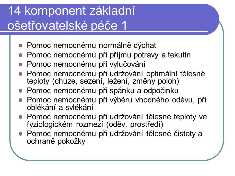 14 komponent základní ošetřovatelské péče 1