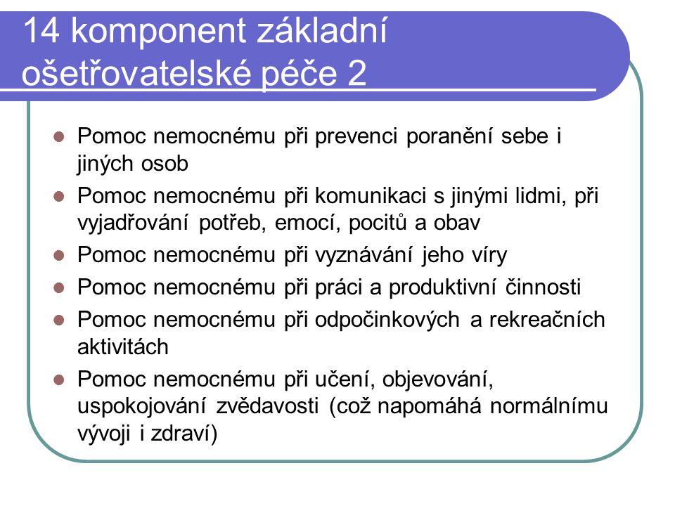 14 komponent základní ošetřovatelské péče 2