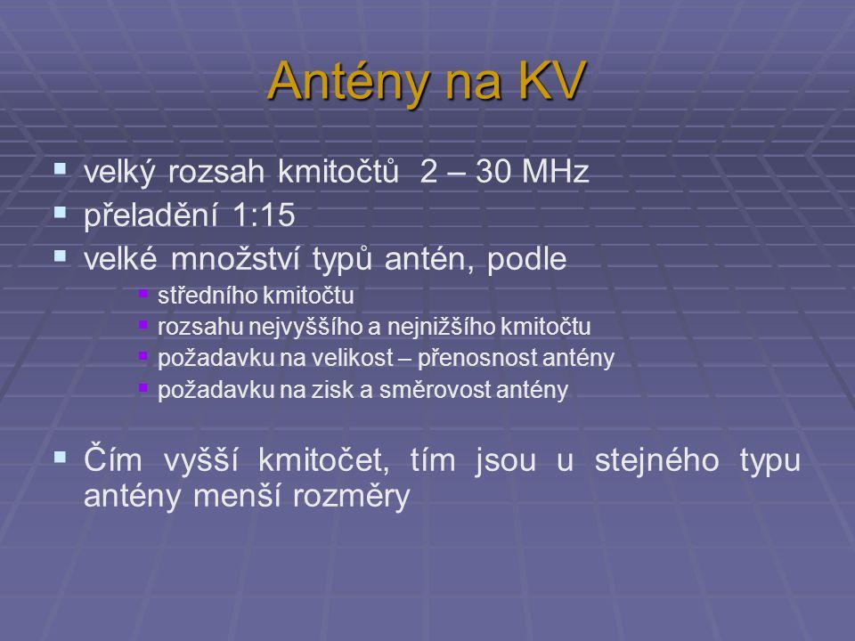 Antény na KV velký rozsah kmitočtů 2 – 30 MHz přeladění 1:15