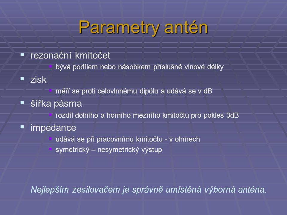 Parametry antén rezonační kmitočet zisk šířka pásma impedance