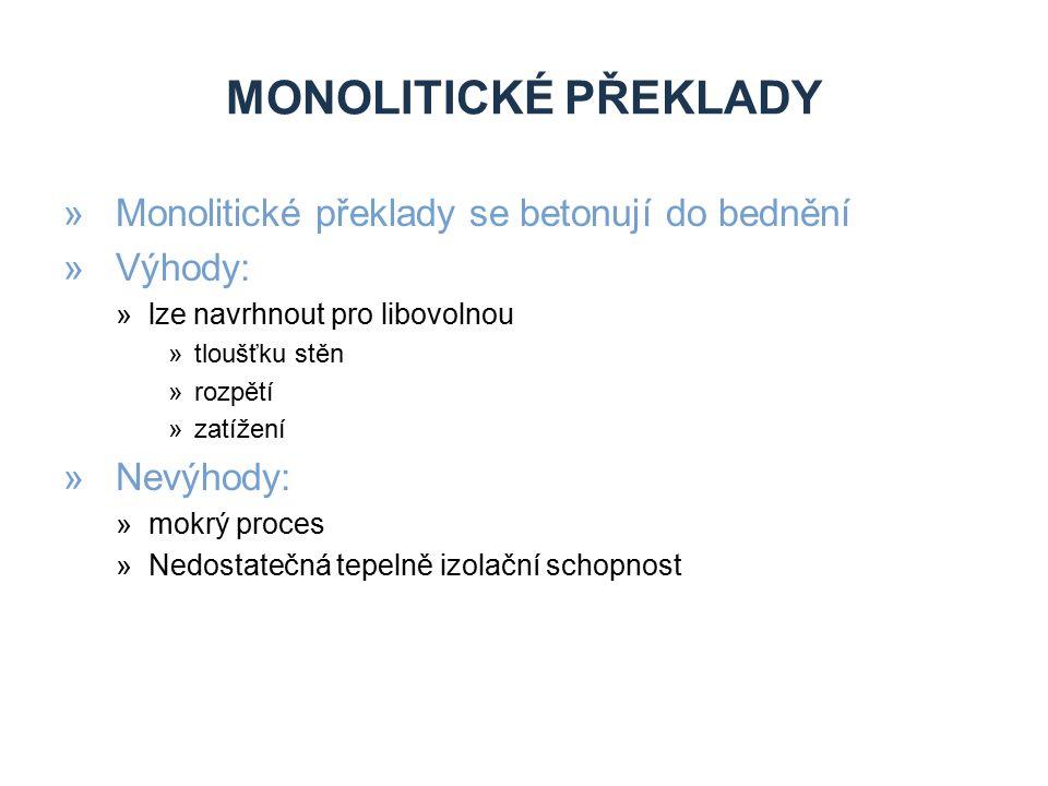 Monolitické překlady Monolitické překlady se betonují do bednění