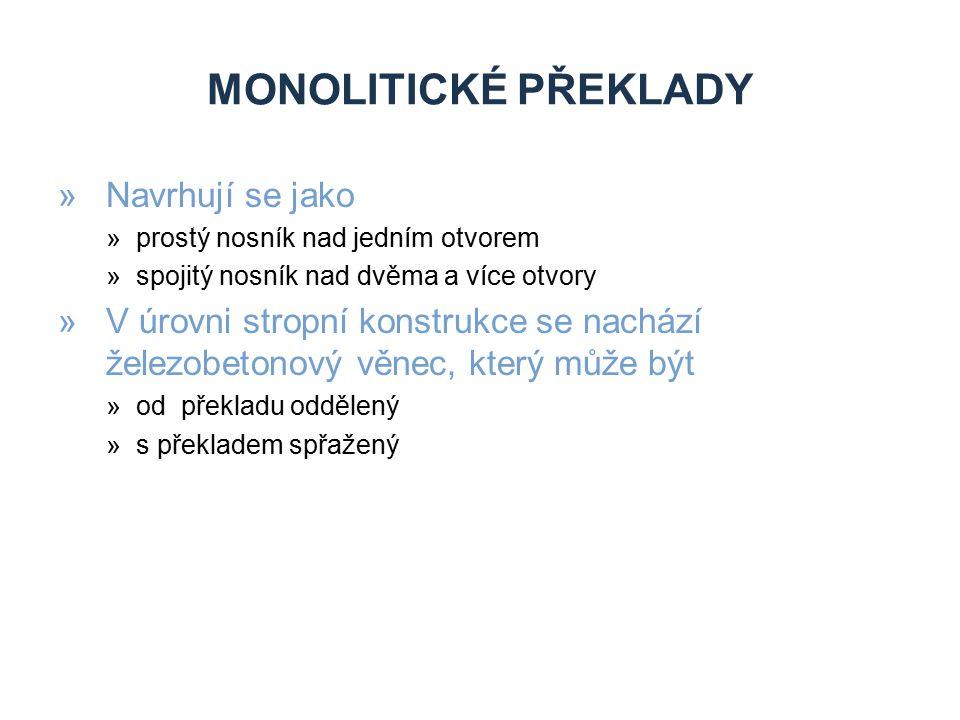 Monolitické překlady Navrhují se jako