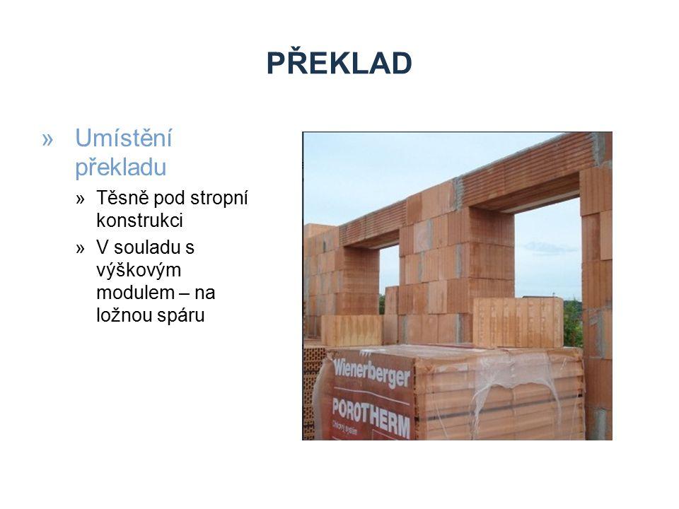 Překlad Umístění překladu Těsně pod stropní konstrukci