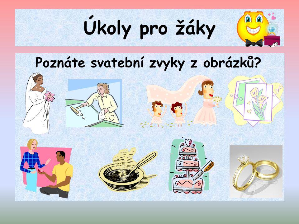 Úkoly pro žáky Poznáte svatební zvyky z obrázků