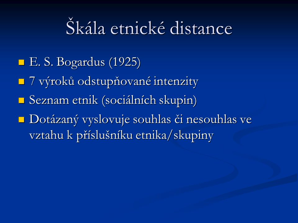 Škála etnické distance