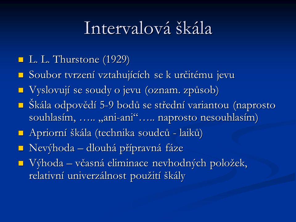 Intervalová škála L. L. Thurstone (1929)