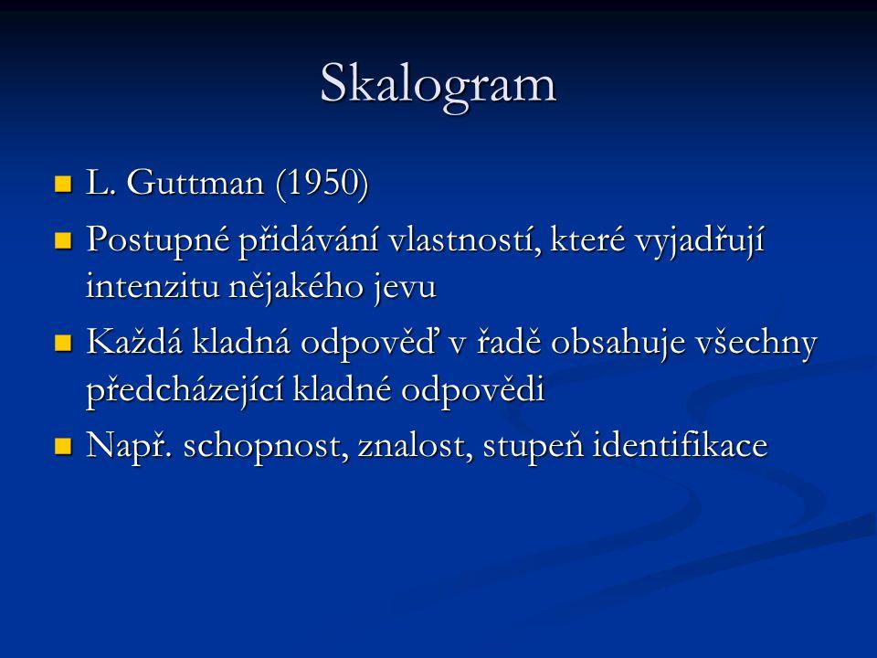 Skalogram L. Guttman (1950) Postupné přidávání vlastností, které vyjadřují intenzitu nějakého jevu.