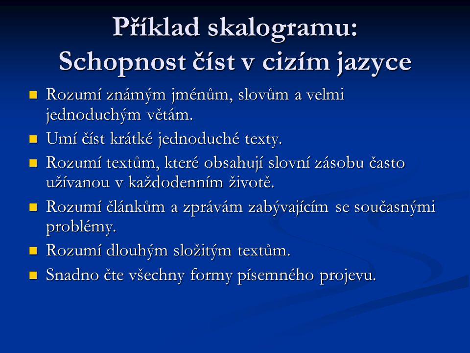 Příklad skalogramu: Schopnost číst v cizím jazyce